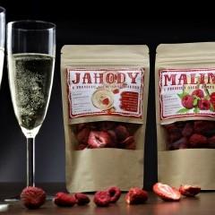 Mrazom sušené jahody a maliny do šumivého vína 20g + 20g